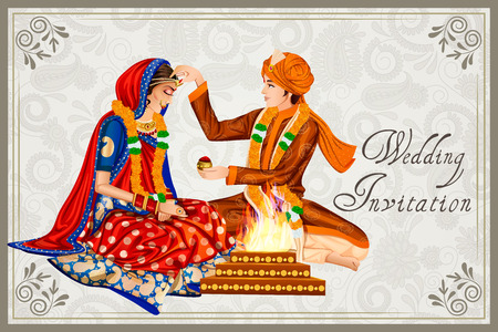 Indian couple in wedding Maang Bharai ceremony of India Stock Vector - 70678671
