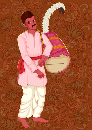 rural india: Vector design of artist playing Dhak Dhol folk music of West Bengal India on floral background
