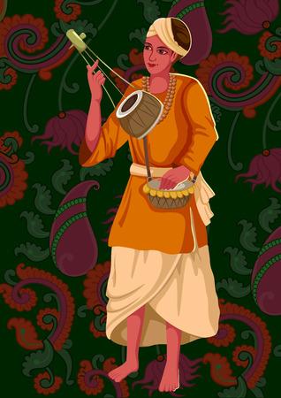 sadhu: Artist playing Ektara folk music of India
