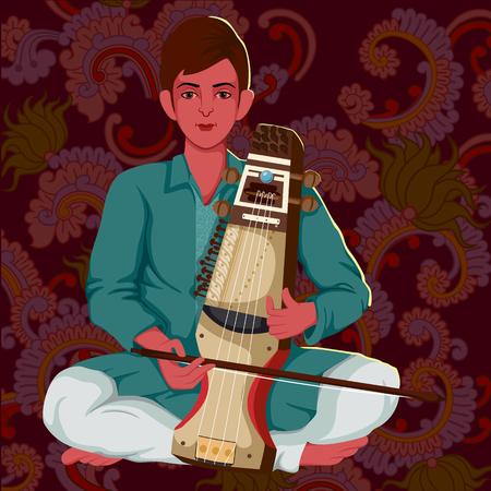 nepali: Artist playing Sarangi folk music of India