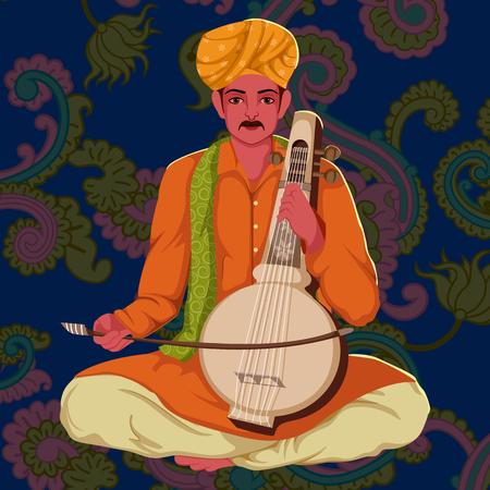 Manganiar Artist playing ManganiarKamaicha folk music of India Stock Photo