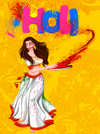 Vector design of Indian people celebrating color festival of India Holi