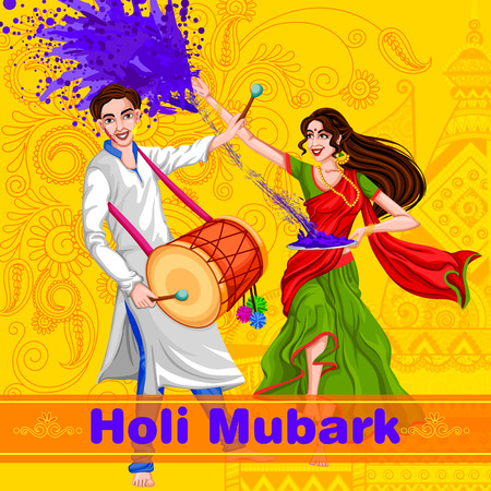 dharma: Indian people celebrating color festival of India Holi