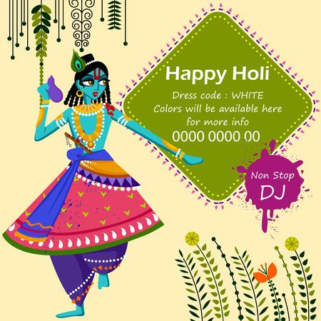 Indian God Krishna celebrating color festival of India Holi
