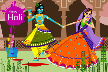 radha: Indian God Krishna and Radha celebrating color festival of India Holi