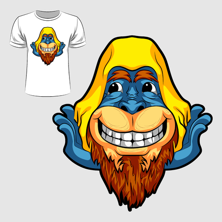 Abstract graphic design of monkey face for t-shirt or banner print