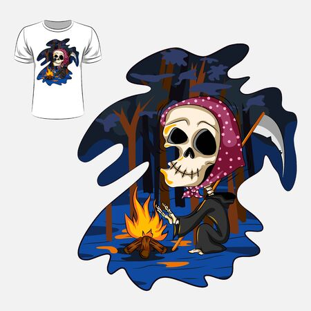 Abstract graphic design of skeleton with sword for t-shirt or banner print