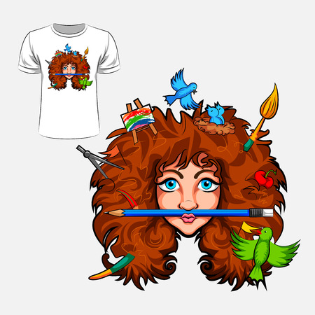 t shirt model: Abstract graphic design of girl with creative head for t-shirt or banner print Illustration