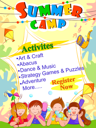 横幅海报设计模板的传染媒介设计孩子夏天营地活动