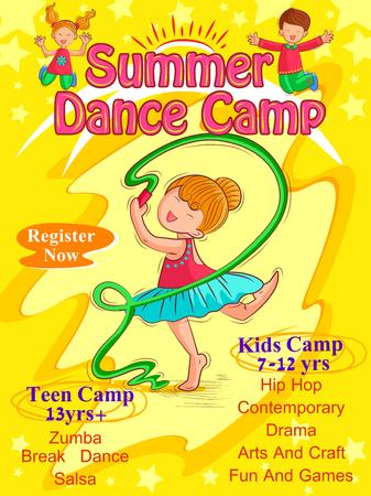 Vector design of banner poster design template for Kids Summer Camp activities