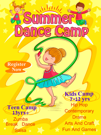Vector design of banner poster design template for Kids Summer Camp activities