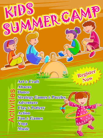 Conception vectorielle d'un modèle de conception d'affiche de bannière pour les activités de Kids Camp d'été