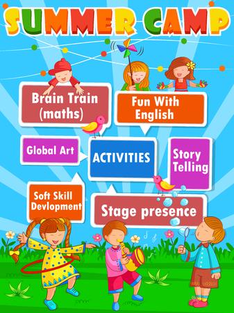 Conception vectorielle d'un modèle de conception d'affiche de bannière pour les activités de Kids Camp d'été Vecteurs