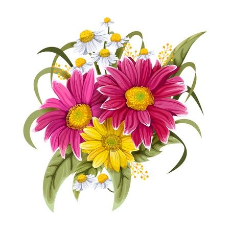 Colorful vintage flower bouquet for invitation and greeting card design