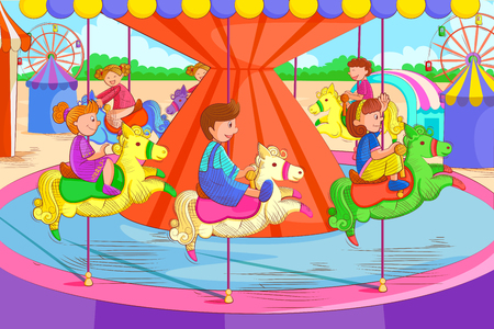Kids playing and enjoying on carousel in summer vacation Illustration