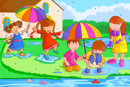Kids playing and enjoying in rain Illustration