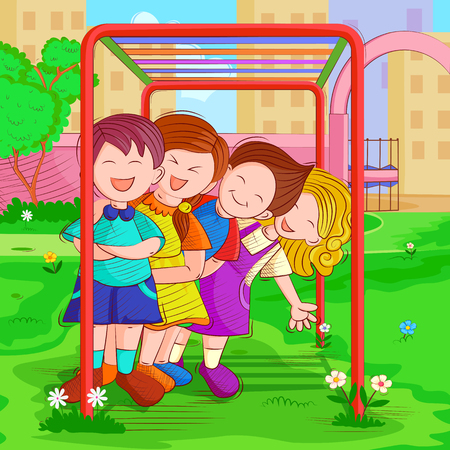 Kids playing and enjoying in summer vacation Ilustrace