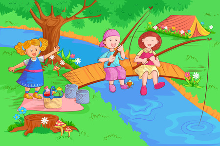 Kids doing fishing and enjoying in summer vacation