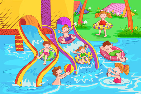 Kids playing and enjoying at waterpark in summer vacation Vector Illustration