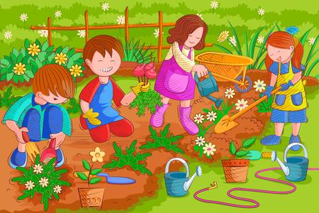 Kids enjoying gardening in summer vacation