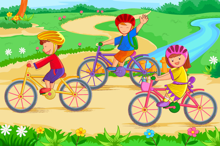Kids cycling and enjoying in summer vacation