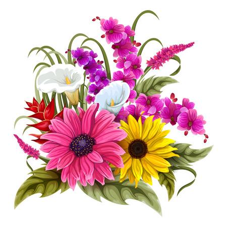 招待状やグリーティング カードのデザインのヴィンテージ カラフルな花束