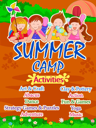 schoolkids: Banner poster design template for Kids Summer Camp activities