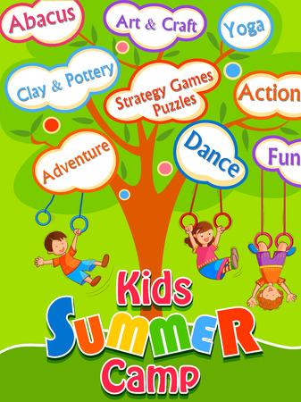 Banner poster design template for Kids Summer Camp activities Stock Vector - 75865773