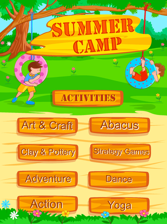 young schoolchild: Banner poster design template for Kids Summer Camp activities