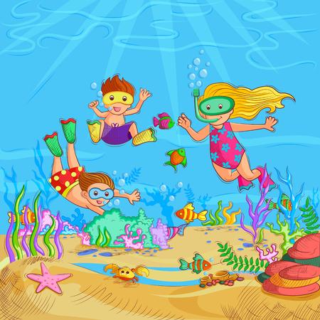 Vector design of Kids doing Underwater Scuba Diving during Summer Vacation Illustration