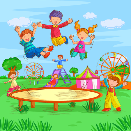 Vector design of kids playing and enjoying in summer vacation Illustration