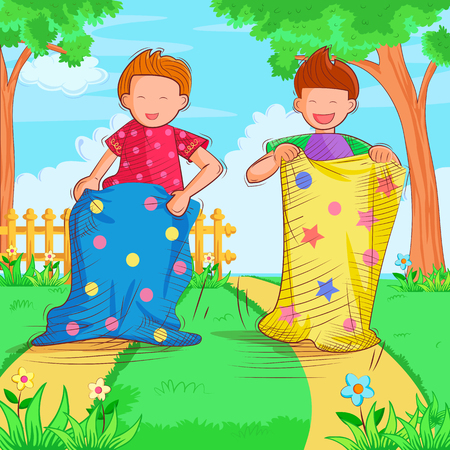 Vector design of kids playing and enjoying sack race in summer vacation