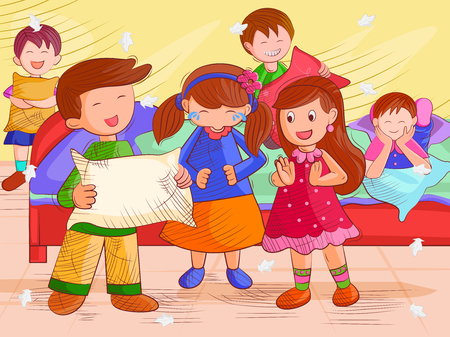 Vector design of kids doing pillow fighting and enjoying Summer Vacation Illustration