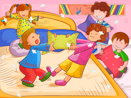 枕の戦いと夏休みを楽しんでいる子供のベクター デザイン