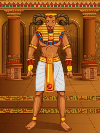 Vector design of Egyptian civiliziation King Pharaoh Khnum God on Egypt palace backdrop Illustration
