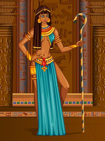 Vector design of Egyptian civiliziation Queen Goddess on Egypt palace backdrop Illustration