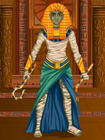 Vector design of Egyptian civiliziation King Pharaoh God on Egypt palace backdrop