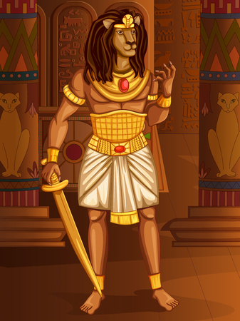 Vector design of Egyptian civiliziation King Pharaoh Maahes God on Egypt palace backdrop Illustration