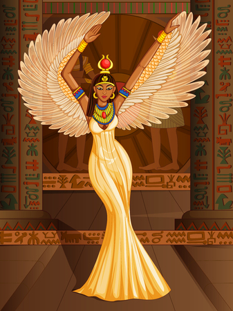 Vector design of Egyptian civiliziation Queen Goddess on Egypt palace backdrop 일러스트