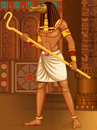 cleopatra: Vector design of Egyptian civiliziation King Pharaoh Sobek God on Egypt palace backdrop