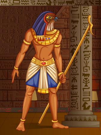 ancient civilization: Vector design of Egyptian civiliziation King Pharaoh God on Egypt palace backdrop