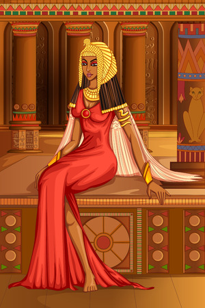 Vector design of Egyptian civiliziation Queen Goddess on Egypt palace backdrop Ilustração
