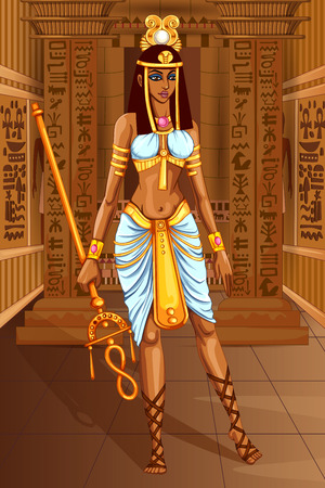 Vector design of Egyptian civiliziation Queen Goddess on Egypt palace backdrop Иллюстрация