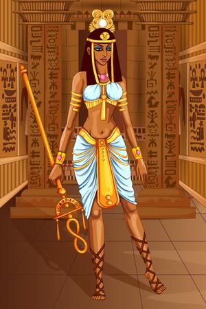 Vector ontwerp van Egyptische beschaving Koningin Godin op Egypte paleis achtergrond Stock Illustratie