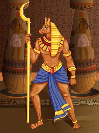 Vector design of Egyptian civiliziation King Pharaoh Anubis God on Egypt palace backdrop