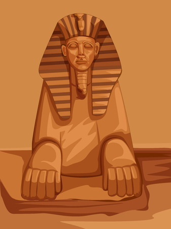Vector design of Egyptian civiliziation Sphinx statue on Egypt palace backdrop