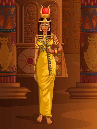 Vector design of Egyptian civiliziation Queen Goddess on Egypt palace backdrop Ilustracja