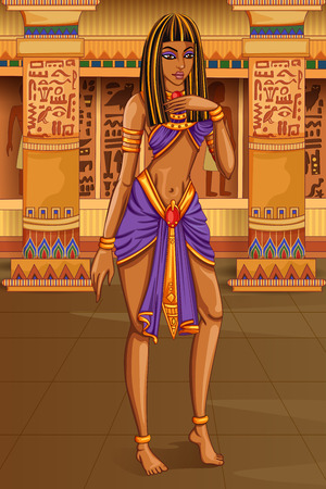 ancient civilization: Vector design of Egyptian civiliziation Queen Goddess on Egypt palace backdrop Illustration
