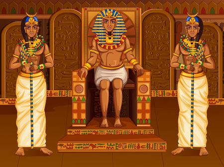 Civilizacion egipcia El rey Faraón Dios en el telón de fondo del palacio de Egipto Foto de archivo - 79465952