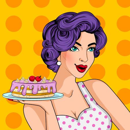 ポップアート スタイル レトロ女性ベーカリーのおいしいケーキを提供